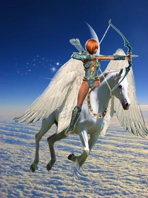 амазонка warrior woman riding on an beautiful pegasus