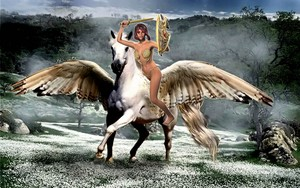 birago woman riding her majestic pegasus