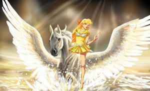 aphrodite riding on her beautiful pegasus