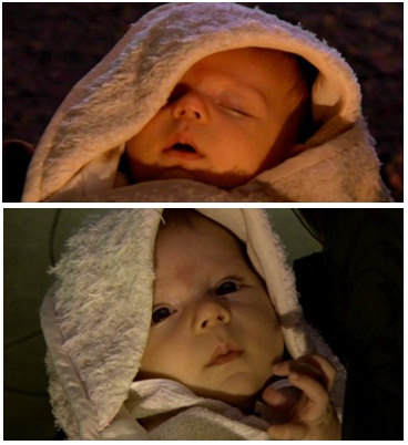 baby Luke and Leia