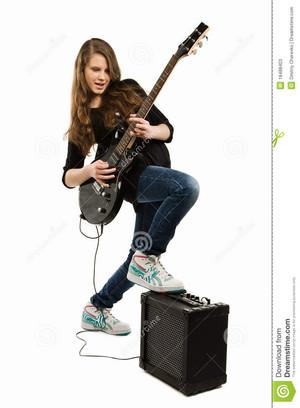 happy teenager girl playing ギター 18488403