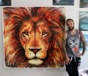 lion dinding mural