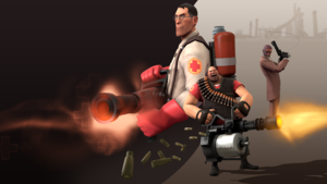 TF2 aan het uploaden Screen With RED Medic,Heavy and Spy