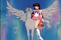 princess sailor mars riding on pegasus