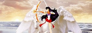 sailor mars wielding her bow and 애로우 while riding on her beautiful pegasus 말