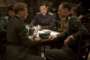 Alexander Fehling as Wilhelm and Michael Fassbender as Lt. Archie Hicox