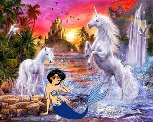Ami Mizuno as a Mermaid with an Beautiful Unicorn and her potro