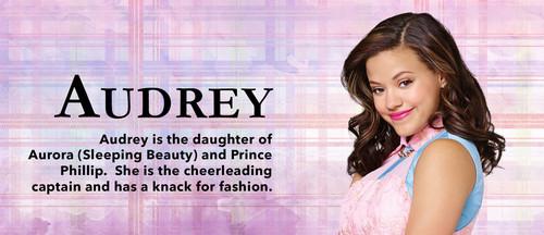 Descendants Hintergrund containing a portrait entitled Audrey