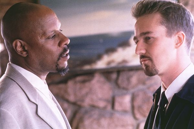 Avery Brooks as Dr. Bob Sweeney and Edward Norton as Derek Vinyard