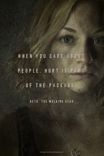 The Walking Dead Hintergrund possibly containing a sign and a portrait entitled Beth Quote
