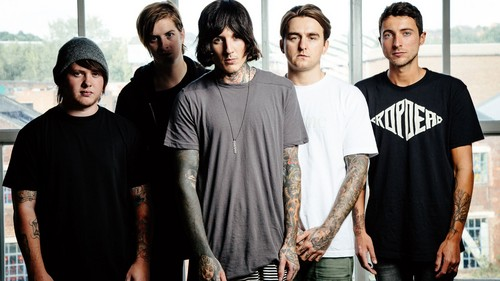 Bring Me The Horizon karatasi la kupamba ukuta possibly containing a leisure wear called Bring Me The Horizon Upset Magazine Photoshot