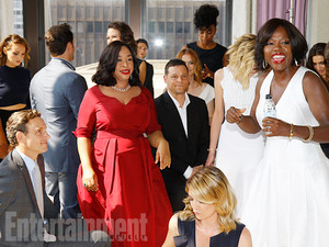 Casts of How To Get Away With Murder, Grey's Anatomy and Scandal BTS of the Shondaland Picture