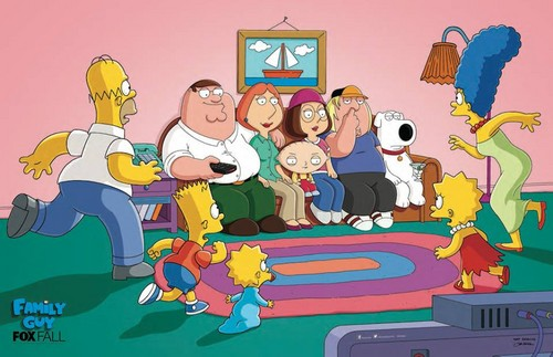 The Simpsons Vs Family Guy kertas dinding containing Anime titled sofa, kerusi panjang Gag