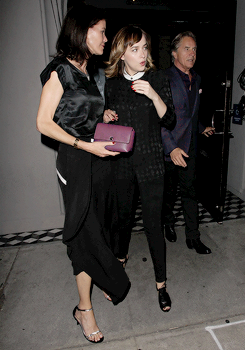 Dakota Johnson with Don Johnson and Kelley Phleger leave the Craig's restaurant in West Hollywood