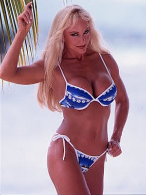 Debra in a blue/white Bikini