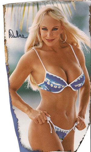 Bekas Diva WWE... Debra kertas dinding containing a bikini titled Debra in a blue/white Bikini - rare version