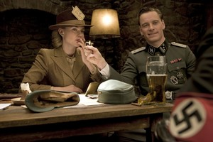 Diane Kruger as Bridgit von Hammersmark and Michael Fassbender as Lt. Archie Hicox