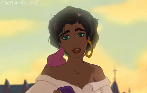 Childhood Animated Movie Heroines karatasi la kupamba ukuta titled Esmeralda with short hair