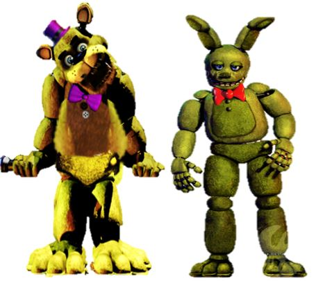 Five Nights at Freddy's kertas dinding called Fredbear and Springtrap