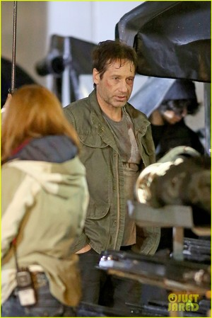 Gillian Anderson and David Duchovny emballage, wrap 'X-Files' Filming!