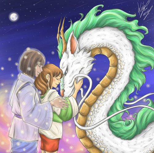 Spirited Away پیپر وال titled Haku and Chihiro