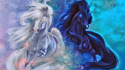 Fantasy Hintergrund entitled Pferde