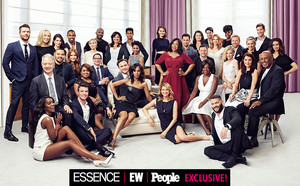 How To Get Away With Murder cast promotional picture with casts from Greys Anatomy and Scandal