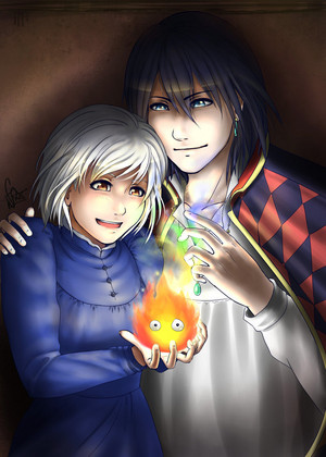 Howl, Sophie and Calcifer
