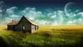 Huts In The Field Landscape Desktop Wallpaper - random wallpaper