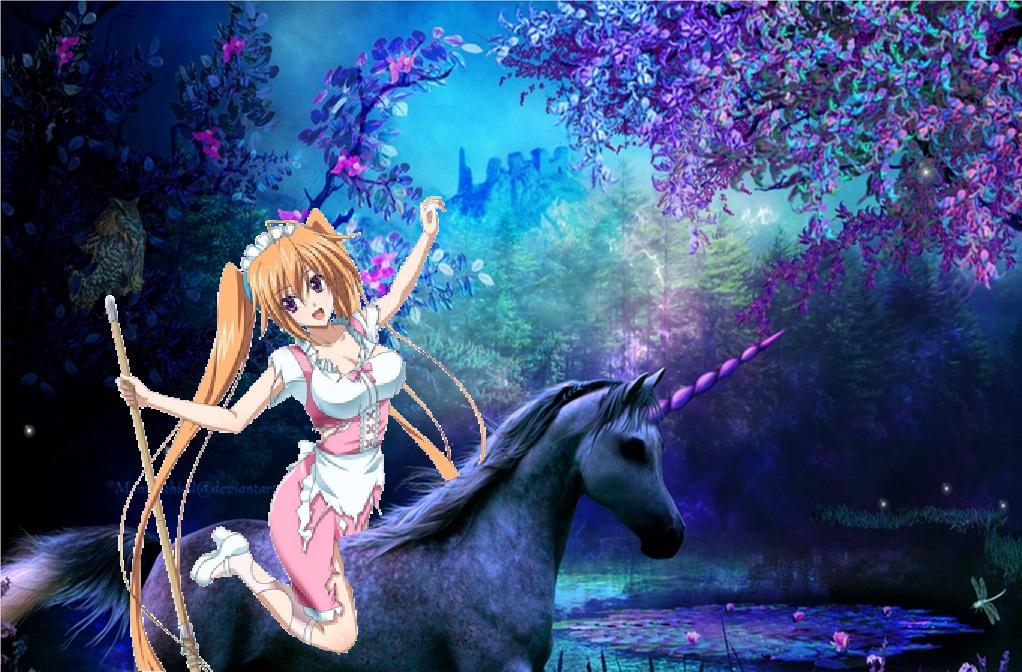 Irina Shidou riding her Beautiful Unicorn