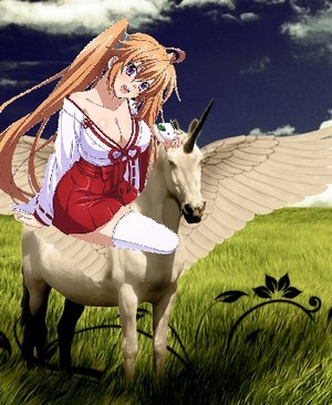 Irina Shidou riding her Beautiful Winged Unicorn