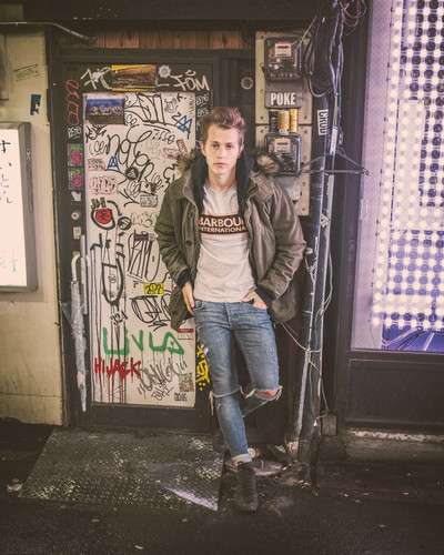 The Vamps پیپر وال probably with a sign and a سٹریٹ, گلی titled James in Tokio