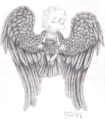 Lisa Simpson Angel: Black and white detailed image - lisa-simpson fan art