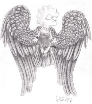 Lisa Simpson Angel: Black and white detailed image