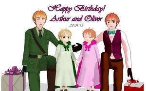 Little Arthur, Adult Arthur and little Oliver and Adult Oliver
