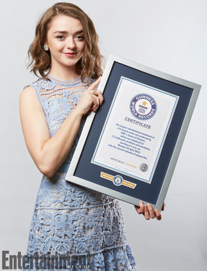 Maisie Williams accepting the Guiness World Record for Game Of Thrones
