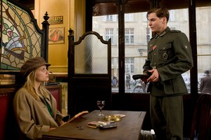 Melanie Laurent as Emmanuelle Mimieux / Shosanna Dreyfus and Daniel Bruhl as Fredrick Zoller