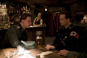 Michael Fassbender as Lt. Archie Hicox and August Diehl as Major Hellstrom