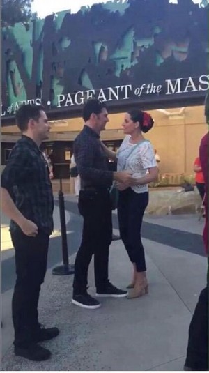 Paget Brewster and Thomas Gibson at the Festival of Arts, 29 August 2015