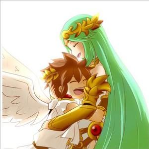 Palutena giving Pit a motherly hug