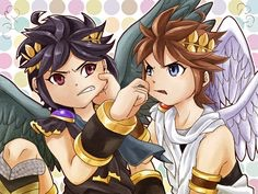 Pit & Dark Pit pinching each other's faces