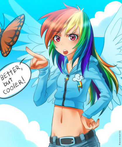 My Little Poney karatasi la kupamba ukuta possibly with anime called upinde wa mvua Dash~ Human Version