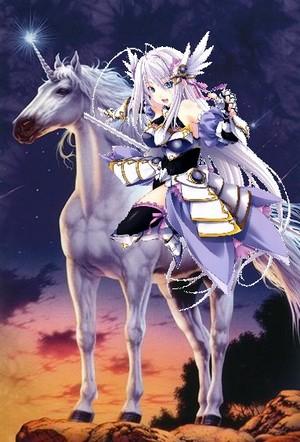Rossweisse riding her Beautiful Unicorn