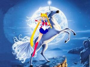 Sailor Moon rides on her Beautiful Unicorn