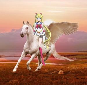 Sailor Moon riding an Beautiful Pegasus