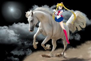 Sailor Moon riding her Beautiful White 骏马
