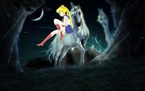 Sailor Moon riding her Beautiful White Unicorn