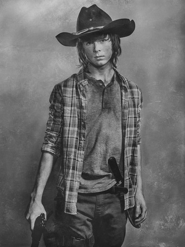 The Walking dead wallpaper containing a fedora, a snap brim hat, and a campaign hat entitled Season 6 Character Portrait ~ Carl Grimes