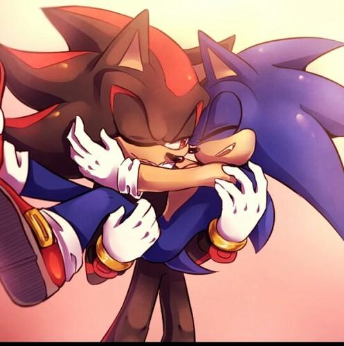 Sonic Yaoi karatasi la kupamba ukuta probably with anime titled Shadow carrying sonic