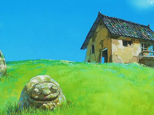 Spirited Away karatasi la kupamba ukuta possibly with a sod house, a lychgate, and a granary entitled Spirited Away